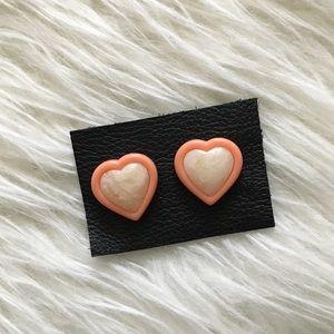 '80s / Peach Barbie Girl Heart Studs